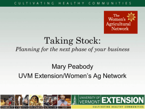 Taking Stock: Mary Peabody UVM Extension/Women's Ag Network