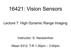 16421: Vision Sensors Lecture 7: High Dynamic Range Imaging Instructor: S. Narasimhan