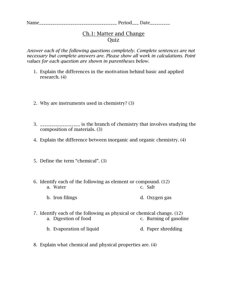 Ch 1: Matter and Change Quiz