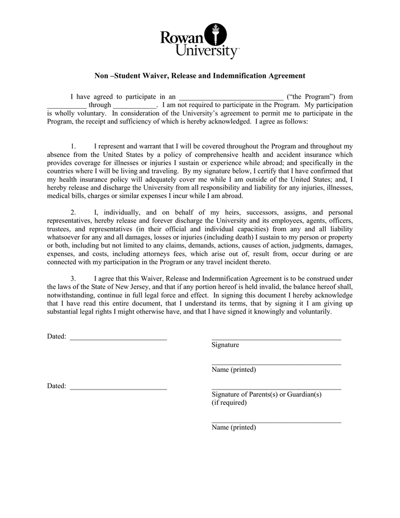 Non Student Waiver Release And Indemnification Agreement