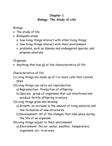 Chapter 1 Biology: The Study of Life  Biology