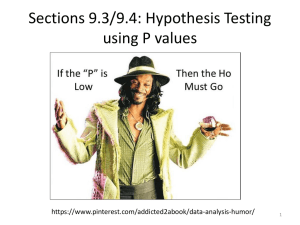 Sections 9.3/9.4: Hypothesis Testing using P values  1