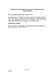 Confidential Assessment for Promotion of Research and Teaching Staff