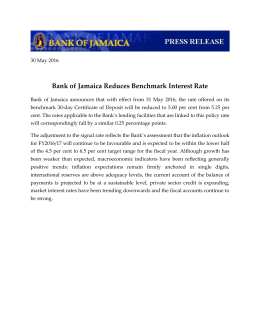 Bank of Jamaica Reduces Benchmark Interest Rate