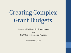 Creating Complex Grant Budgets Presented by University Advancement and
