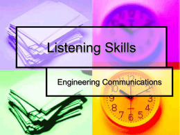 Listening Skills Engineering Communications