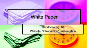 "White Paper Handbook pg. 48 Website: ""introduction"" presentation"