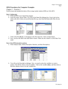 SPSS Procedures for Computer Examples Chapter 3 – Exercise 1
