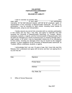 VOLUNTEER PARTICIPATION AGREEMENT AND RELEASE OF LIABILITY