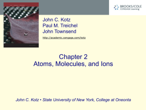 Chapter 2 Atoms, Molecules, and Ions John C. Kotz Paul M. Treichel