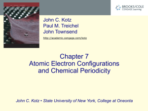 Chapter 7 Atomic Electron Configurations and Chemical Periodicity John C. Kotz