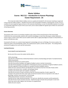Master Syllabus Course:  MLS 211 – Introduction to Human Physiology