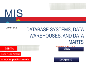 MIS DATABASE SYSTEMS, DATA WAREHOUSES, AND DATA MARTS