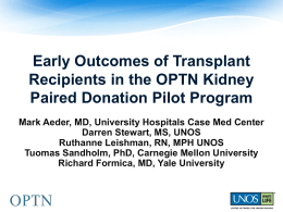 Early Outcomes of Transplant Recipients in the OPTN Kidney