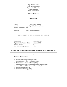 Mays Business School Texas A&M University Department of Marketing Staff Data Sheet