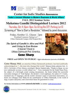 Mahatma Gandhi Distinguished Lecture 2012 Gene Sharp Center for Indic Studies