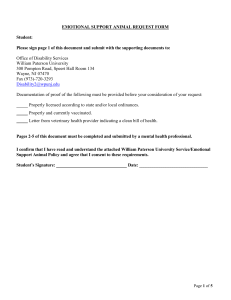 EMOTIONAL SUPPORT ANIMAL REQUEST FORM Student: