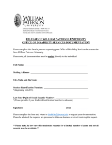 RELEASE OF WILLIAM PATERSON UNIVERSITY OFFICE OF DISABILITY SERVICES DOCUMENTATION
