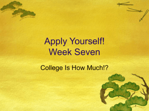 Apply Yourself! Week Seven College Is How Much!? 1