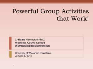 Powerful Group Activities that Work! Christine Harrington Ph.D. Middlesex County College