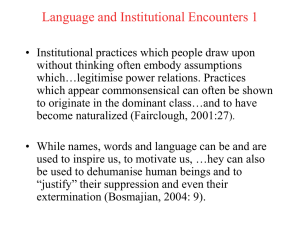 Language and Institutional Encounters 1