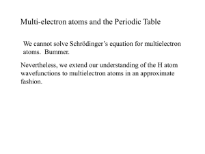 Multi-electron atoms and the Periodic Table