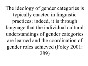 The ideology of gender categories is typically enacted in linguistic