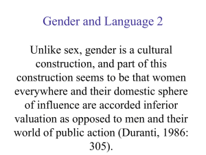 Gender and Language 2