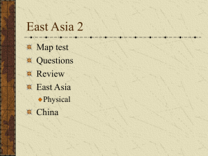 East Asia 2 Map test Questions Review