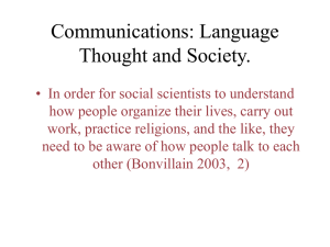 Communications: Language Thought and Society.