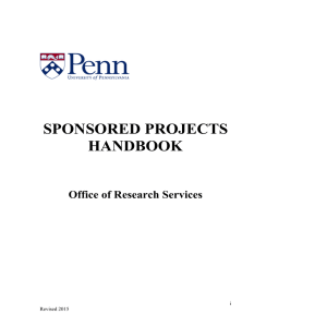 SPONSORED PROJECTS HANDBOOK  Office of Research Services