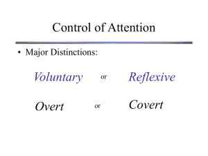 Control of Attention Voluntary Reflexive Covert