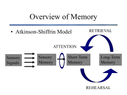 Overview of Memory • Atkinson-Shiffrin Model RETRIEVAL ATTENTION