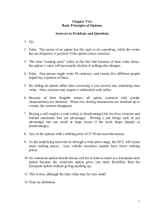 Chapter Two Basic Principles of Options  Answers to Problems and Questions