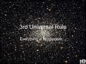 3rd Universal Rule Everything is its opposite…