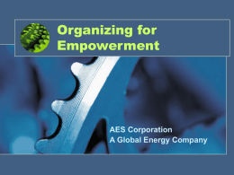 Organizing for Empowerment AES Corporation A Global Energy Company