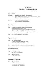 MGT 4310 The Big 5 Personality Types Extraversion: