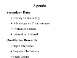 Agenda Secondary Data Qualitative Research