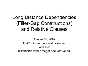 Long Distance Dependencies (Filler-Gap Constructions) and Relative Clauses October 10, 2007