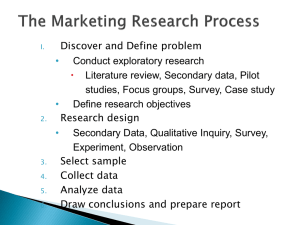 Discover and Define problem Conduct exploratory research Literature review, Secondary data, Pilot