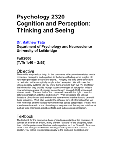 Psychology 2320 Cognition and Perception: Thinking and Seeing