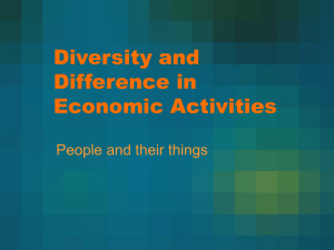 Diversity and Difference in Economic Activities People and their things