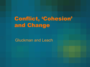 Conflict, 'Cohesion' and Change Gluckman and Leach