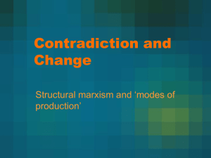 Contradiction and Change Structural marxism and 'modes of production'