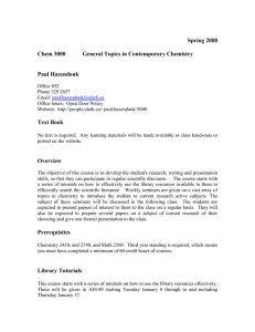 Spring 2008 Chem 3000 General Topics in Contemporary Chemistry