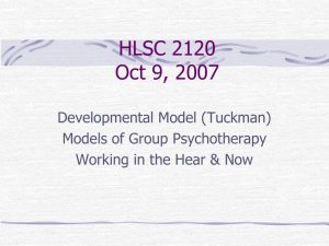 HLSC 2120 Oct 9, 2007 Developmental Model (Tuckman) Models of Group Psychotherapy