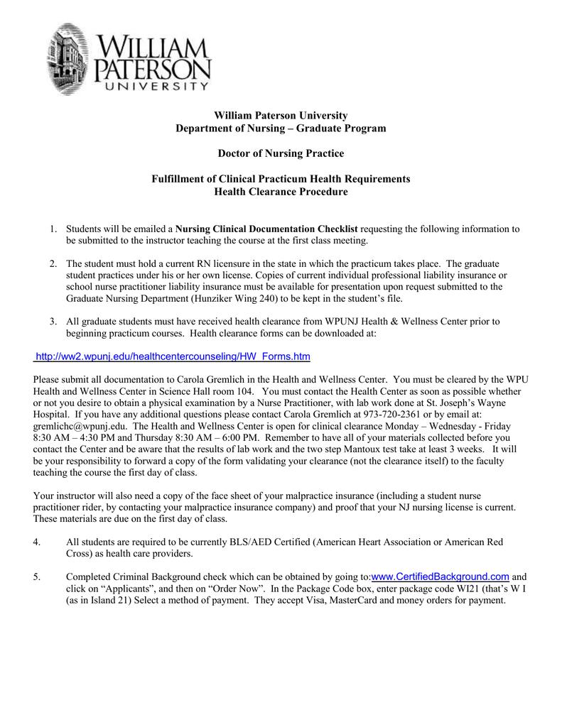 William Paterson University Department Of Nursing Graduate Program