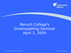 Baruch College's Greenwashing Seminar April 3, 2009 Sunday, July 17, 2016