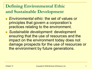 Defining Environmental Ethic and Sustainable Development