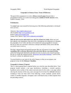 Geography 2000A  World Regional Geography library research paper
